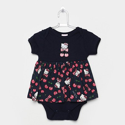 Body Saia Infantil Hello Kitty Manga Curta Feminino