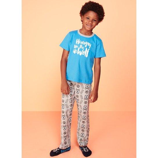 8af16ccff02f1e Pijama Infantil Puket Lobo - Azul