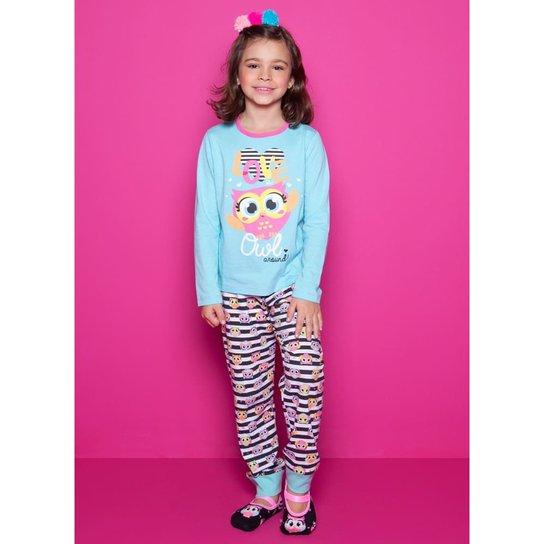 9eea1f1fc93e02 Pijama Infantil Puket Coruja Feminina - Azul