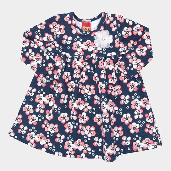 Vestido Infantil Kyly Manga Longa - Azul - Compre Agora  e1e0ef7e26d