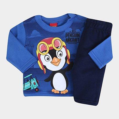 Conjunto Infantil Kyly Pinguim Peluciado Masculino