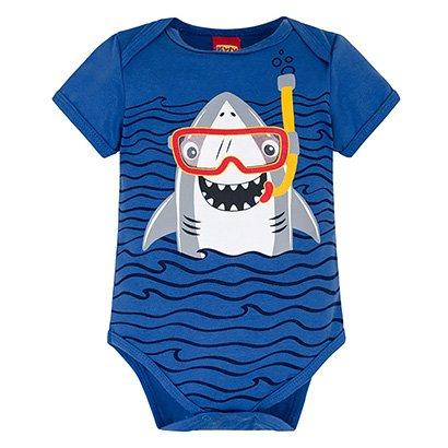 Body Infantil Kyly Cotton Shark Bebê Masculino
