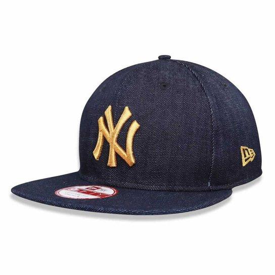 5fad3bd93 Boné New York Yankees Strapback Jeans Logo Gold MLB - New Era - Azul ...