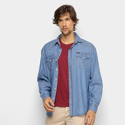 Camisa Jeans Manga Longa Wrangler Bolsos Masculina
