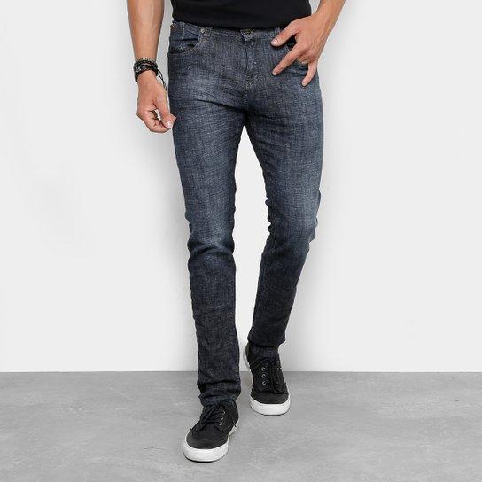 ac9e09891 Calça Jeans Skinny Rock Blue Amassada Elastano Masculina - Azul ...