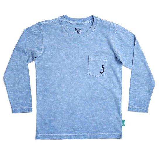 5e646dc87 Camiseta Manga Longa Infantil Jokenpô Bolso Masculino - Azul ...