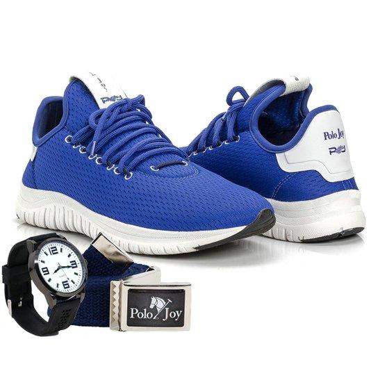 4ad5143e30 Kit Tênis Polo Joy Sport Com Relogio E Cinto Masculino - Azul | Netshoes