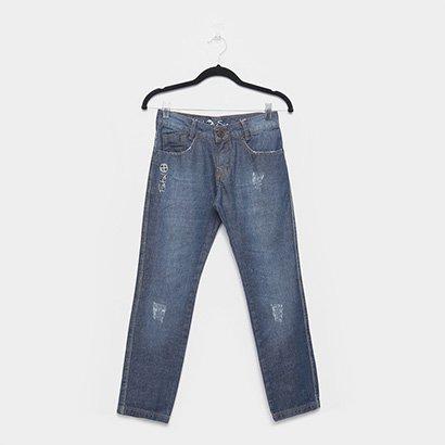 Calça Jeans Juvenil Fatal Reta Com Puídos Masculina