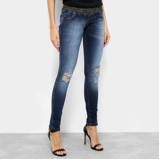 57ee51356 Calça Jeans Skinny Biotipo Lurex Cintura Média Feminina - Azul ...
