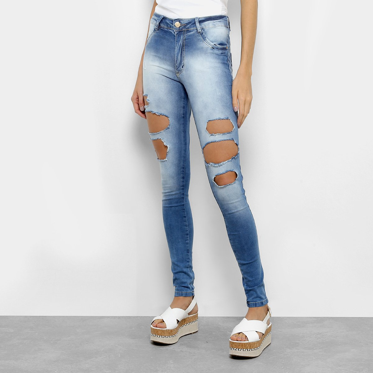fc66216c0 Calça Jeans Cigarrete Biotipo Cintura Média Feminina