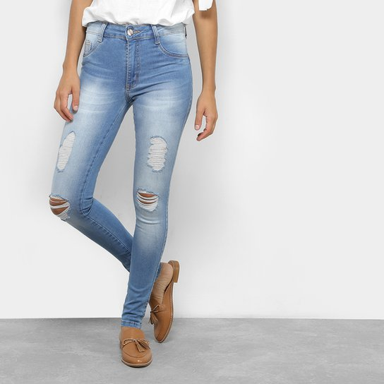 a46c2cd3e Calça Jeans Skinny Destroyed Biotipo Cintura Média Feminina | Netshoes