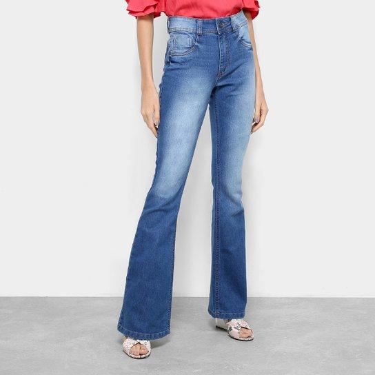 1533ecafb Calça Jeans Flare Biotipo Estonada Cintura Média Feminina - Azul ...