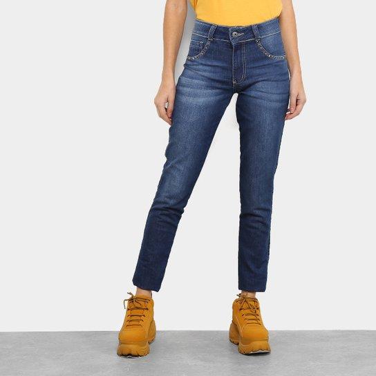 b176abd50 Calça Jeans Skinny Biotipo Melissa Cintura Média Aplicação Feminina - Azul