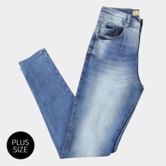 871b951e9 Calça Jeans Skinny Biotipo Estonada Cintura Alta Plus Size Feminina - Azul