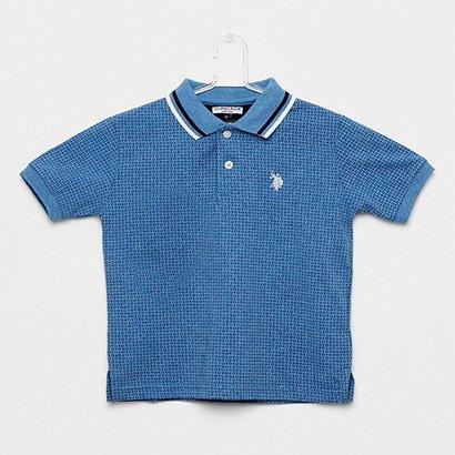 Camisa Polo Infantil Polo U.S.POLO Assn Estampada Mini Print Masculina