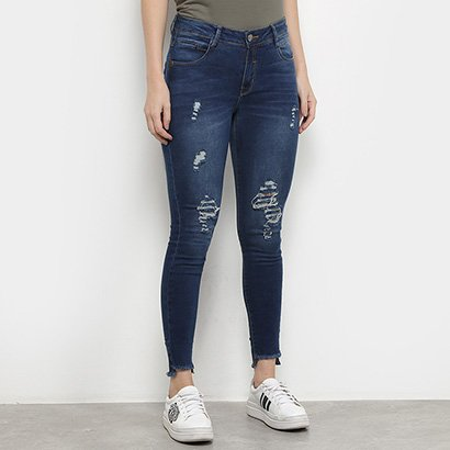 Calça Jeans Skinny Zune Puídos Feminina