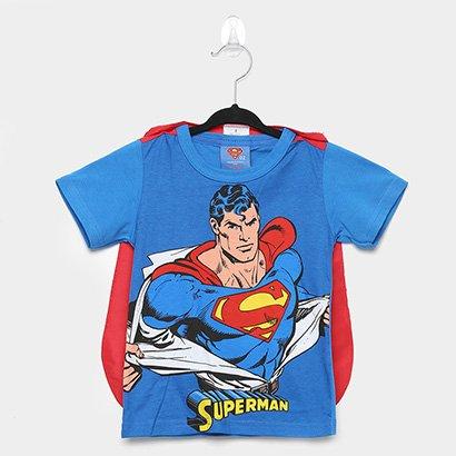 Camiseta Infantil Marlan Superman + Capa Masculina