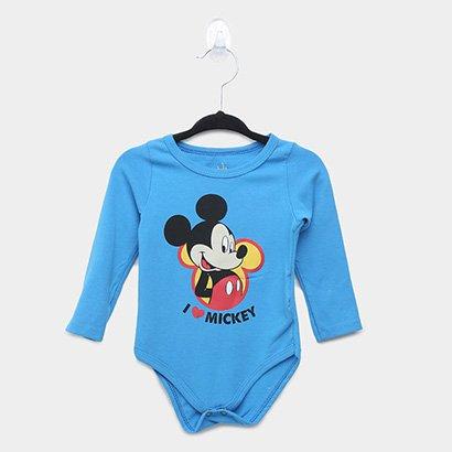 Body Infantil Marlan Cotton Disney Mickey Manga Longa Masculino