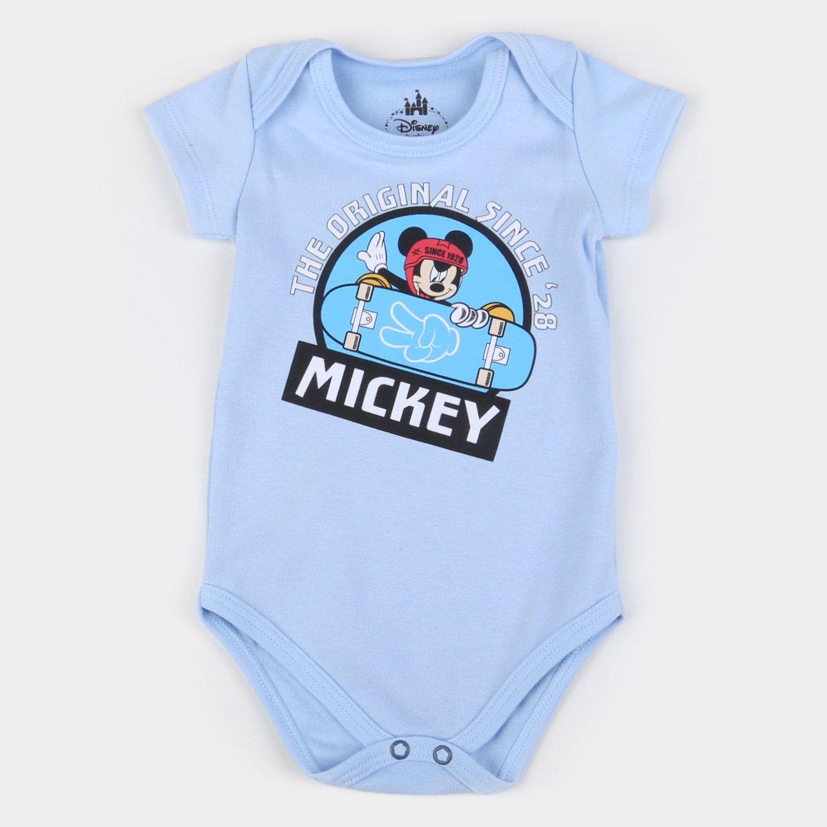Body Bebê Marlan Suedine Disney Mickey Mouse Manga Curta