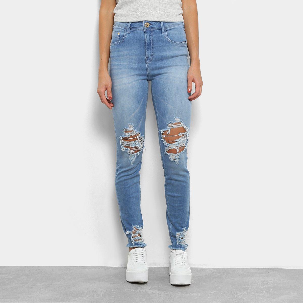 c2104746b Calça Jeans Skinny Coca-Cola High Destroyed Cintura Alta Feminina