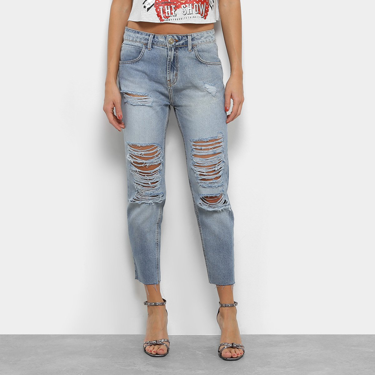 27bb6f3329 Calça Jeans Boyfriend Coca-Cola Destroyed Cintura Alta Feminina