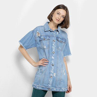 Colete Camisa Jeans Coca-Cola Manga Curta Desfiado Puídos Feminino
