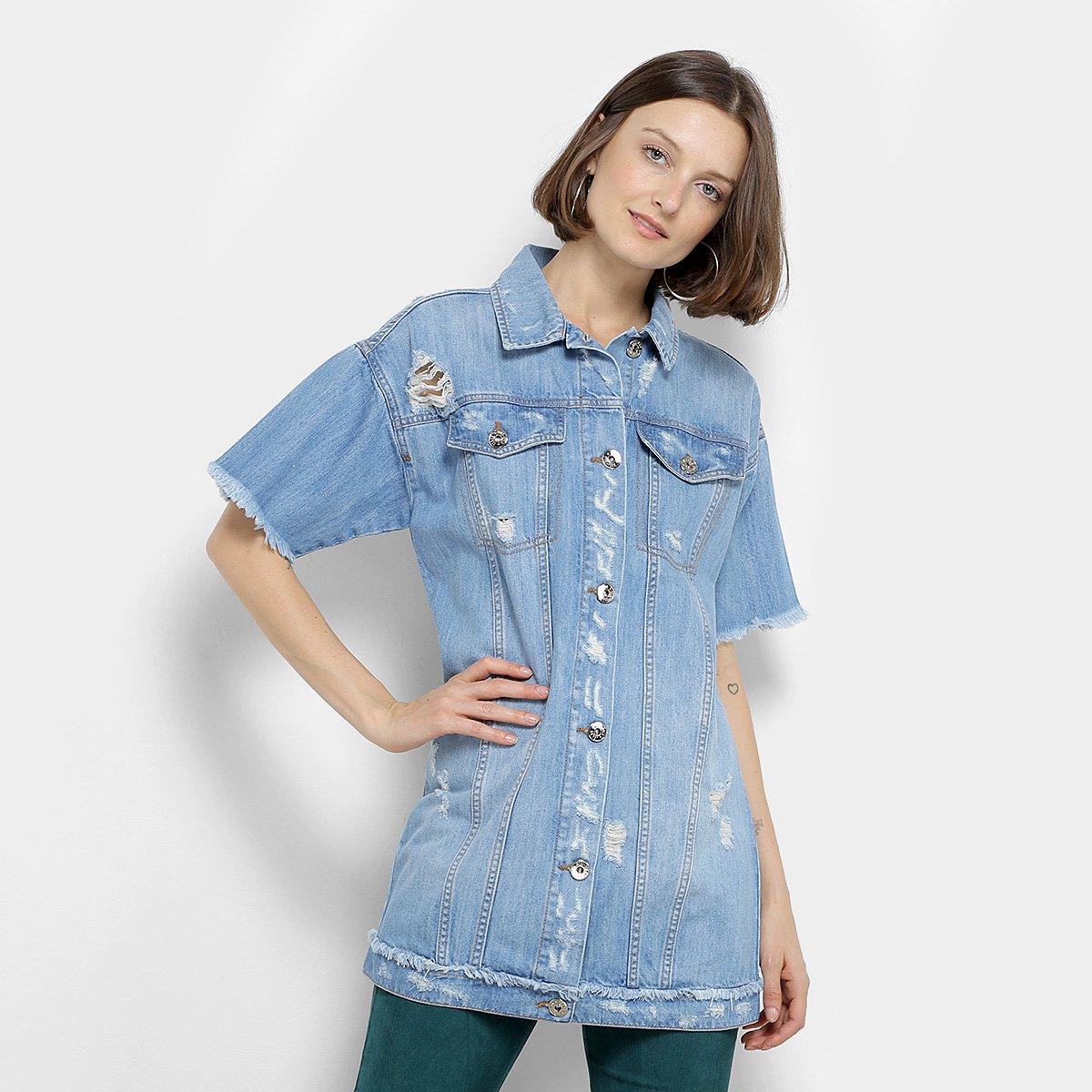 7d6280de50 Colete Camisa Jeans Coca-Cola Manga Curta Desfiado Puídos Feminino ...