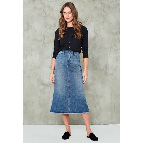 4a7cf75abc838 Saia Jeans Midi Cós Desfiado | Netshoes