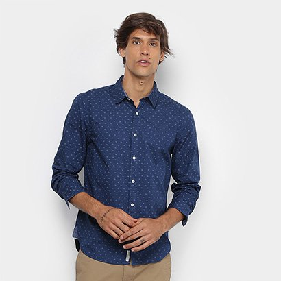Camisa JAB Slim Fit Mini Print Masculina