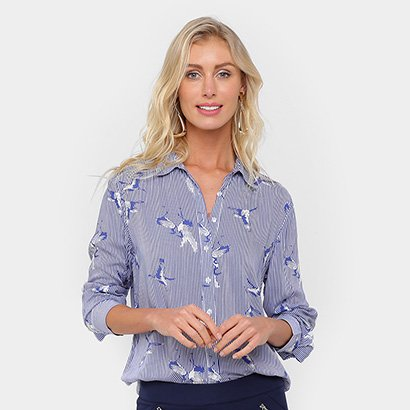 613e36f84 Camisa Facinelli Listrada Pássaros Feminina