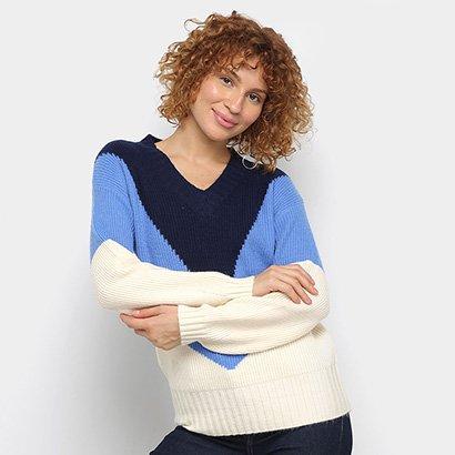 Suéter Tricot Facinelli Color Blocks Feminino