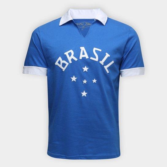 5dfc486e6c1cc Camisa Polo Brasil Retrô Times Masculina - Azul - Compre Agora ...