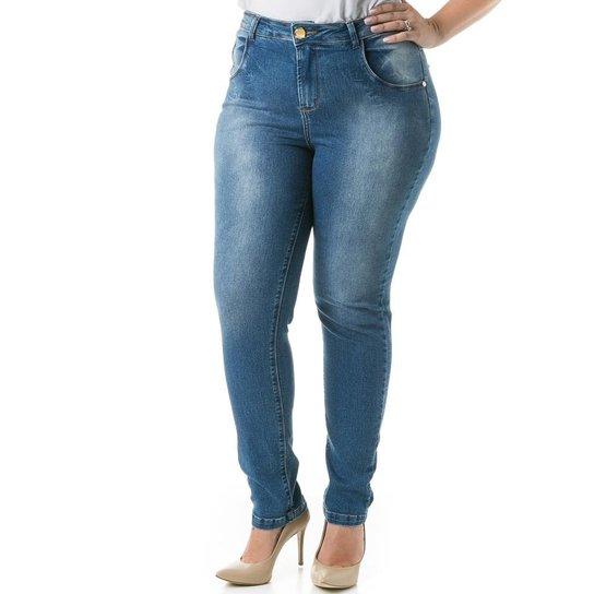 2e4bf55751 Calça Confidencial Extra Plus Size Jeans Skinny Cigarrete Feminina - Azul