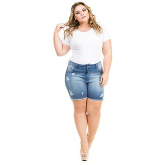 82c748621 Shorts Confidencial Extra Plus Size Jeans Destroyed Feminino