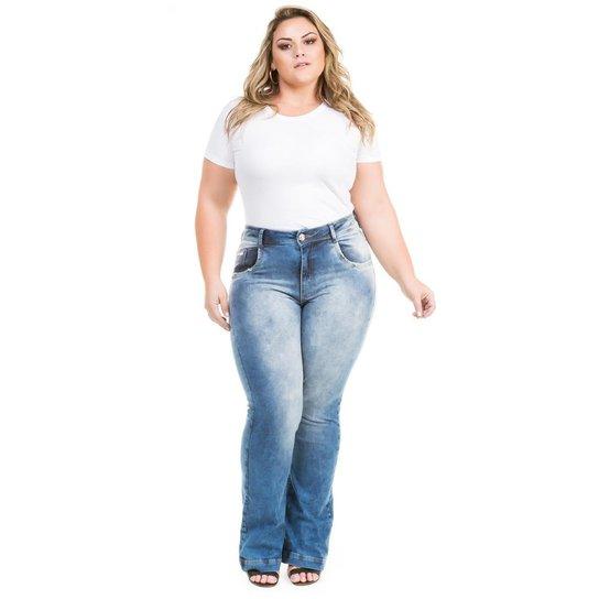 a8da663bf Calça Confidencial Extra Plus Size Jeans Flare com Elastano Feminina - Azul