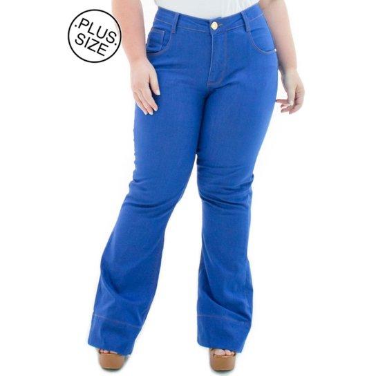 bfd49cbd6 Calça Jeans Confidencial Extra Plus Size Flare Missy Feminina - Azul ...