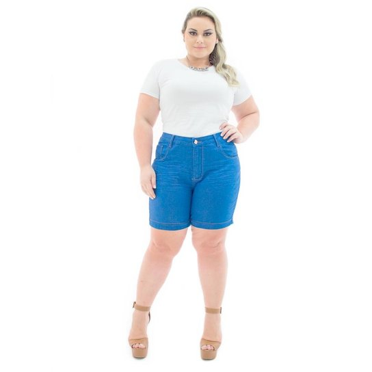 434192521 Shorts Confidencial Extra Jeans Missy Médio com Lycra Plus Size Feminino -  Azul