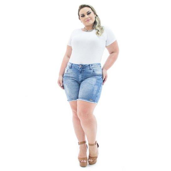 8a1b529e7 Shorts Confidencial Extra Jeans Squash com Lycra Plus Size Feminino - Azul