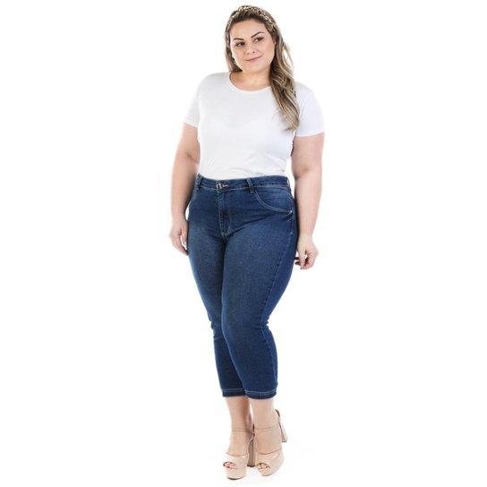 050117822ad517 Calça Jeans Feminina Confidencial Extra Capri Dumont Plus Size - Azul