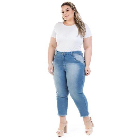 46d571fef555b9 Calça Jeans Feminina Capri Squash Plus Size - Azul