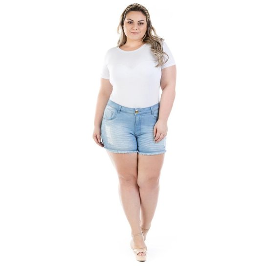 862a56bb4 Shorts Jeans Feminino Curto Destroyed Plus Size - Azul | Netshoes