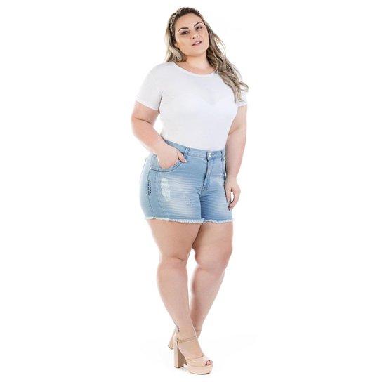 a7c92213f Shorts Jeans Feminino Squash com Bordado Plus Size - Azul - Compre ...