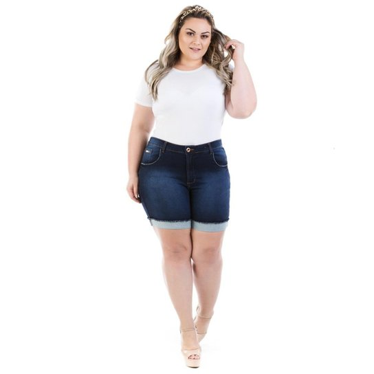 45b38d8ec Shorts Feminino Jeans Confidencial Extra Knit Barra Dobrada Plus Size - Azul