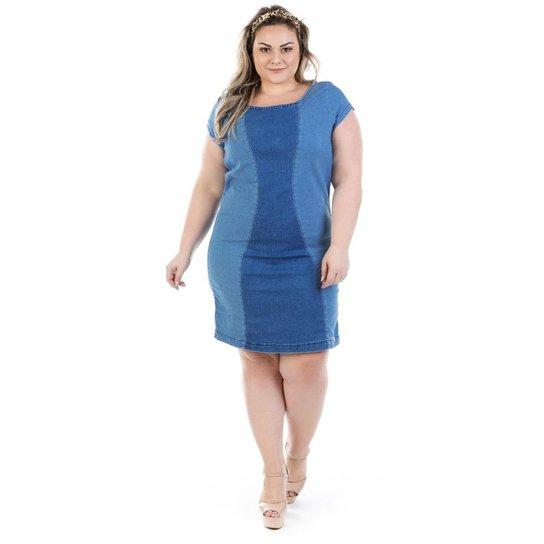 43c87594f Vestido Jeans Manga Confidencial Extra Curta Vinil Plus Size Feminino - Azul