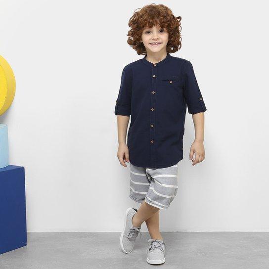 Conjunto Infantil Milon Camisa Tricoline e Bermuda Masculino - Azul 8ae0c1a5611
