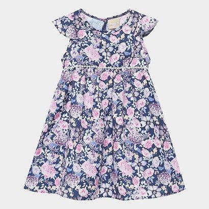 Vestido Infantil Milon Maquinetado Floral