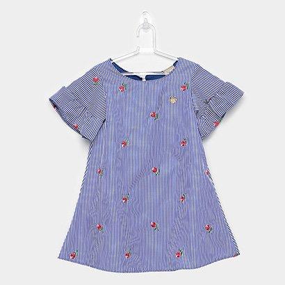 Vestido Infantil Milon Tricoline Listrado Flores