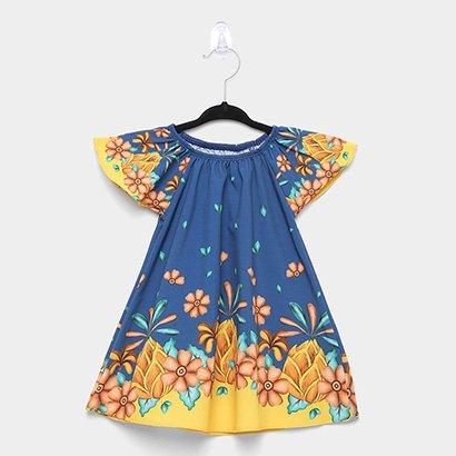 Vestido Infantil Nanai Cetim Elastano Floral