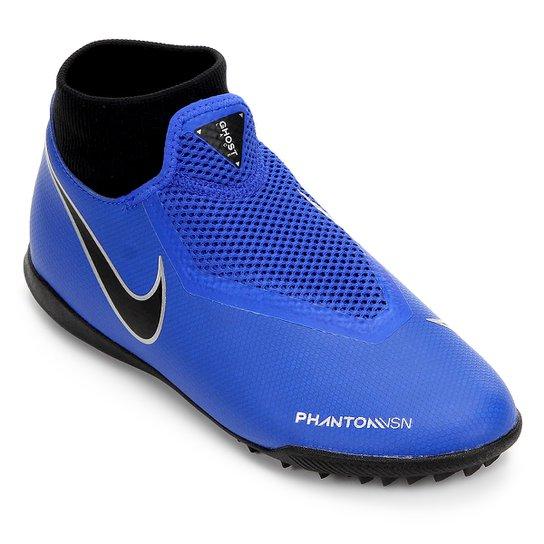 6af25aa009 Chuteira Society Nike Phantom Vision Academy DF TF - Azul e Preto ...