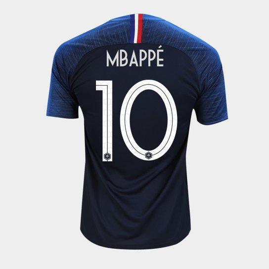 d47a03af7 Camisa Seleção França Home 2018 n° 10 - Mbappé - Torcedor Nike Masculina -  Azul